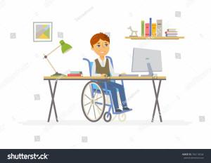 stock-vector-online-education-modern-vector-illustration-of-happy-disabled-junior-school-boy-student-working-704118544